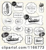 Clipart Of Black And White Quality Labels Over A Beige Pattern Royalty Free Vector Illustration