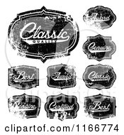 Clipart Of Distressed Black And White Quality Labels Royalty Free Vector Illustration
