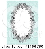 Clipart Of A Floral Oval Invite Frame With Siwrls And Copyspace On Antique Blue Royalty Free Vector Illustration by BestVector