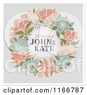 Clipart Of A Floral Wreath Wedding Announcement With Sample Text On Gray And White Royalty Free Vector Illustration by elena