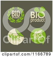 Clipart Of Green Bio Product Labels Royalty Free Vector Illustration