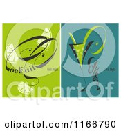 Clipart Of Fresh Mojito Cocktails With Green And Teal Backgrounds Royalty Free Vector Illustration by elena