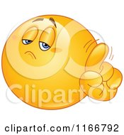 Cartoon Of A Yellow Emoticon Smiley Wagging His Finger Royalty Free Vector Clipart