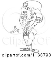 Cartoon Of An Outlined Presenting Leprechaun Royalty Free Vector Clipart
