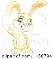 Cartoon Of A Cute Little Bunny Waving Royalty Free Vector Clipart