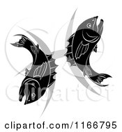 Clipart Of A Black And White Pisces Zodiac Astrology Fish And Symbol Royalty Free Vector Illustration
