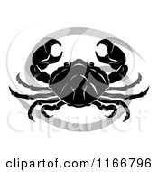 Clipart Of A Black And White Horoscope Zodiac Astrology Cancer Crab And Symbol Royalty Free Vector Illustration
