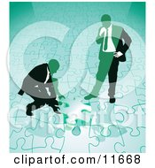 Two Businessmen Completing A Green Jigsaw Puzzle Together Clipart Illustration