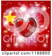 Clipart Of A Shiny Red Heart And Fireworks Over A Chinese Flag Royalty Free Vector Illustration by AtStockIllustration