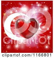 Clipart Of A Shiny Red Heart And Fireworks Over A Turkey Flag Royalty Free Vector Illustration by AtStockIllustration