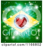 Clipart Of A Shiny Red Heart And Fireworks Over A Brazil Flag Royalty Free Vector Illustration