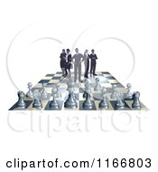 Clipart Of A Business Team On A Chess Board Up Against Game Pieces Royalty Free Vector Illustration