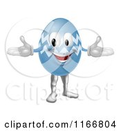 Cartoon Of A Blue Easter Egg Mascot Royalty Free Vector Clipart