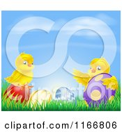 Cartoon Of Yellow Easter Chicks Playing In Grass With Eggs Under A Blue Sky Royalty Free Vector Clipart