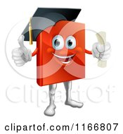 Cartoon Of A Red Book Mascot Graduate Royalty Free Vector Clipart
