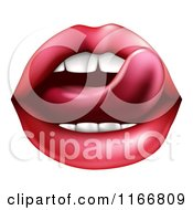 Clipart Of A Womans Tongue Licking Her Red Lips Royalty Free Vector Illustration by AtStockIllustration