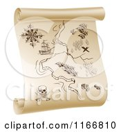 Clipart Of A Pirate Treasure Map On A Scroll Royalty Free Vector Illustration by AtStockIllustration