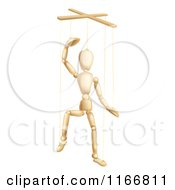 Clipart Of A Wooden Puppet Lifting Off His Hat Royalty Free Vector Illustration by AtStockIllustration