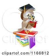Cartoon Of A Professor Owl Reading On A Stack Of Books Royalty Free Vector Clipart by AtStockIllustration