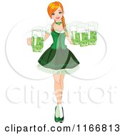 Cartoon Of A St Patricks Day Bar Maiden Woman With Green Beer Royalty Free Vector Clipart by Pushkin