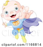 Cartoon Of A Super Baby Boy Flying Royalty Free Vector Clipart