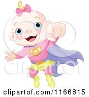 Cartoon Of A Super Baby Girl Flying Royalty Free Vector Clipart