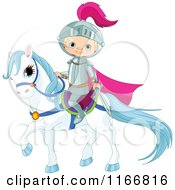 Cartoon Of A Fairy Tale Knight Boy On Horseback Royalty Free Vector Clipart by Pushkin