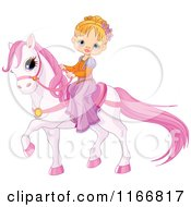 Cartoon Of A Fairy Tale Princess Girl On A Pink Pony Royalty Free Vector Clipart