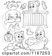 Cartoon Of Outlined Babies And Items Royalty Free Vector Clipart