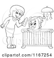 Cartoon Of An Outlined Mother Giving Her Daughter A Bottle In A Nursery Royalty Free Vector Clipart by visekart
