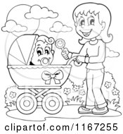 Cartoon Of An Outlined Mother Waving A Rattle And Pushing A Baby In A Stroller Royalty Free Vector Clipart