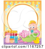 Cartoon Of A Baby Boy In A Bubble Bath Frame Royalty Free Vector Clipart