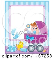Cartoon Of A Baby Boy In A Carriage Border With Copyspace Royalty Free Vector Clipart