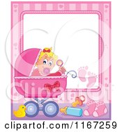 Cartoon Of A Baby Girl Waving A Rattle In A Pink Pram Border Royalty Free Vector Clipart