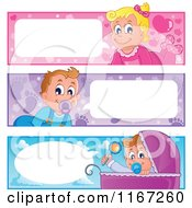 Cartoon Of Talking Baby Website Banners Royalty Free Vector Clipart