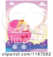 Cartoon Of A Talking Baby Girl Waving A Rattle In A Pink Pram Royalty Free Vector Clipart