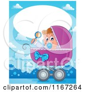 Cartoon Of A Talking Baby Boy In A Carriage With Copyspace Royalty Free Vector Clipart