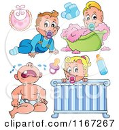 Cartoon Of Babies And Items Royalty Free Vector Clipart