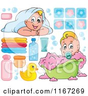 Cartoon Of Babies And Bath Tub Items Royalty Free Vector Clipart