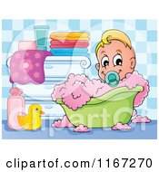 Cartoon Of A Baby Boy In A Bubble Bath Royalty Free Vector Clipart by visekart