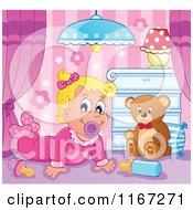 Cartoon Of A Happy Baby Girl With A Teddy Bear In A Nursery Royalty Free Vector Clipart by visekart