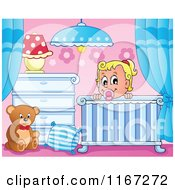 Cartoon Of A Happy Baby Girl In A Nursery Crib Royalty Free Vector Clipart by visekart