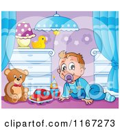 Cartoon Of A Happy Baby Boy With Toys In A Nursery Royalty Free Vector Clipart