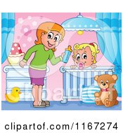 Cartoon Of A Happy Mother Giving Her Daughter A Bottle In A Nursery Royalty Free Vector Clipart by visekart