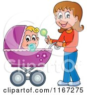 Cartoon Of A Happy Mother Waving A Rattle And Pushing A Baby In A Stroller Royalty Free Vector Clipart