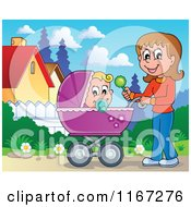Cartoon Of A Mother Waving A Rattle And Pushing A Baby In A Stroller Royalty Free Vector Clipart
