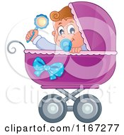 Cartoon Of A Baby Boy Waving A Rattle In A Purple Pram Royalty Free Vector Clipart