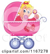 Cartoon Of A Baby Girl Waving A Rattle In A Pink Pram Royalty Free Vector Clipart