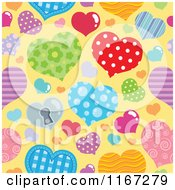 Cartoon Of A Seamless Valentines Day Pattern With Patterned Hearts On Yellow Royalty Free Vector Clipart by visekart