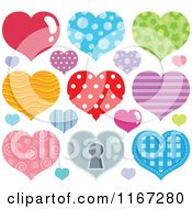 Cartoon Of Colorful Patterned Hearts Royalty Free Vector Clipart by visekart